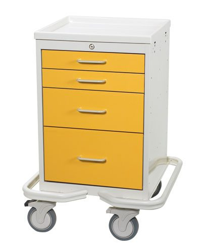 Hospital Isolation Carts (Mini 4 Drawer Tower MAT-421-Y)