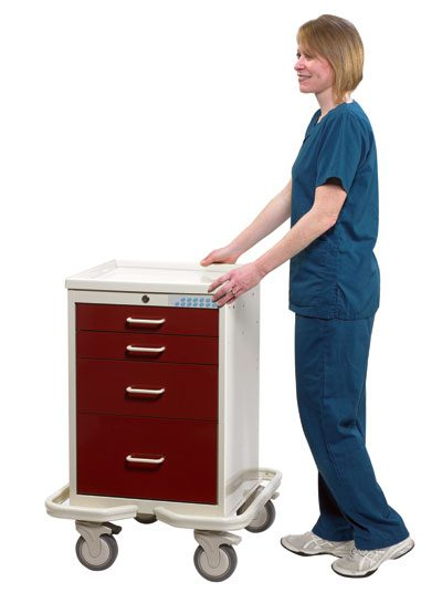 Anesthesia Carts (Mini Electronic Lock - 4 Drawer Tower MLS-421-AR)
