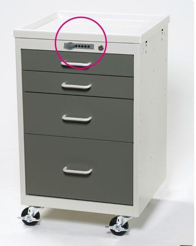 Mini Medical Carts (4 Drawer Cart w/Push Button Lock)