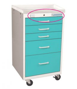 Anesthesia Carts (Mini Electronic Lock - 5 Drawer Cart MMX-524-T)
