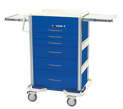 Anesthesia Carts (SELECT Push Button Lock - 6 Drawer Cart SIS-630A-DB)