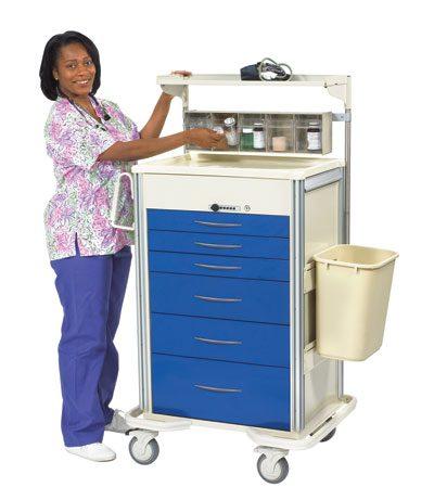 Anesthesia Carts (SELECT Push Button Lock - 6 Drawer Cart)