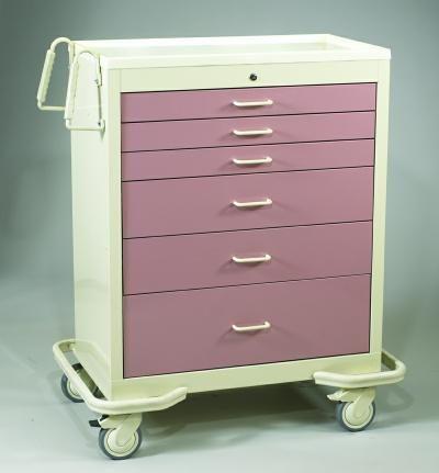 Wide Medical Carts - 6 Drawer Key Lock Cart
