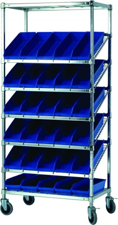 Mobile Slanted Wire Shelving Unit